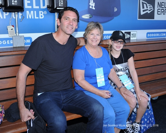 Shawn Green poses with guests prior to game against the Philadelphia Phillies Monday, August 8, 2016 at Dodger Stadium in Los Angeles,California. Photo by Jon SooHoo/©Los Angeles Dodgers,LLC 2016