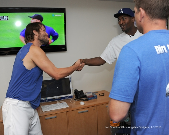 Metta World Peace meets team prior to game against the Philadelphia Phillies Monday, August 8, 2016 at Dodger Stadium in Los Angeles,California. Photo by Jon SooHoo/©Los Angeles Dodgers,LLC 2016