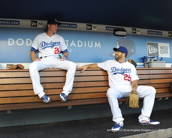 Chase Utley and Rob Segedin talk prior to game against the Philadelphia Phillies Monday, August 8, 2016 at Dodger Stadium in Los Angeles,California. Photo by Jon SooHoo/©Los Angeles Dodgers,LLC 2016