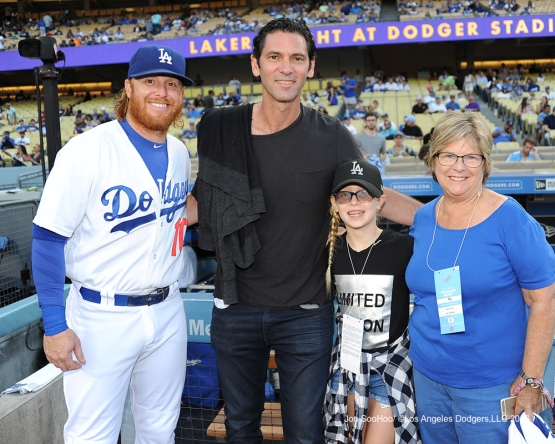 Justin Turner poses with Shawn Green and guests prior to  game against the Philadelphia Phillies Monday, August 8, 2016 at Dodger Stadium in Los Angeles,California. Photo by Jon SooHoo/©Los Angeles Dodgers,LLC 2016