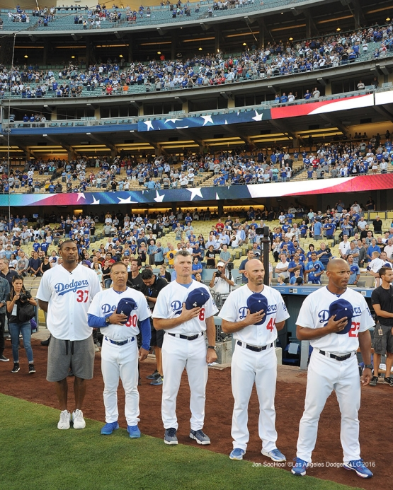 Metta World Peace joins the team for anthem prior to game against the Philadelphia Phillies Monday, August 8, 2016 at Dodger Stadium in Los Angeles,California. Photo by Jon SooHoo/©Los Angeles Dodgers,LLC 2016