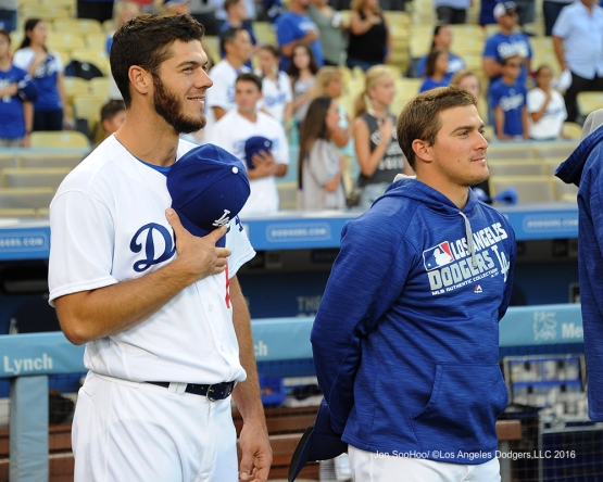 Josh Ravin and Kike Hernandez prior to game against the Philadelphia Phillies Monday, August 8, 2016 at Dodger Stadium in Los Angeles,California. Photo by Jon SooHoo/©Los Angeles Dodgers,LLC 2016