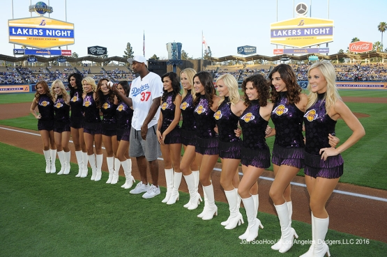 Metta World Peace and Laker Girls prior to game against the Philadelphia Phillies Monday, August 8, 2016 at Dodger Stadium in Los Angeles,California. Photo by Jon SooHoo/©Los Angeles Dodgers,LLC 2016