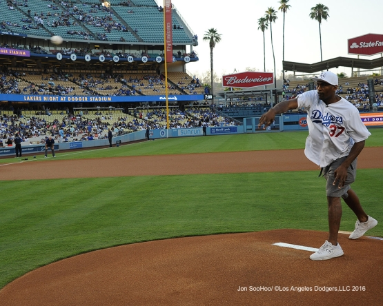 Metta World Peace throws out the first pitch prior to game against the Philadelphia Phillies Monday, August 8, 2016 at Dodger Stadium in Los Angeles,California. Photo by Jon SooHoo/©Los Angeles Dodgers,LLC 2016