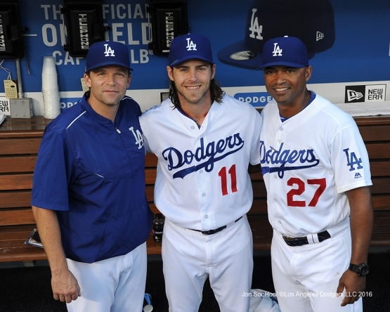 Tim Hyers, Josh Reddick and George Lombard pose prior to game against the Philadelphia Phillies Monday, August 8, 2016 at Dodger Stadium in Los Angeles,California. Photo by Jon SooHoo/©Los Angeles Dodgers,LLC 2016