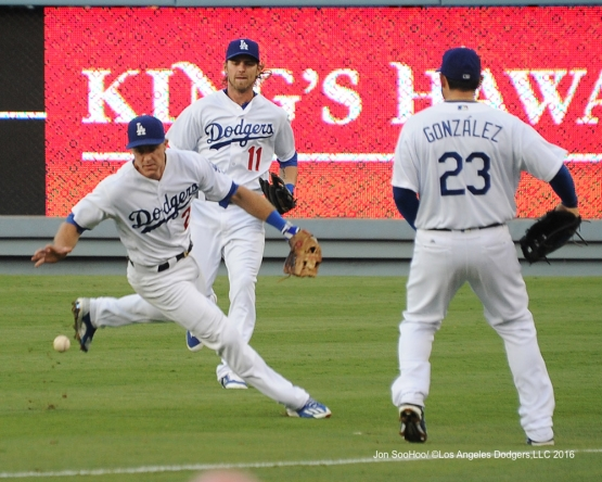 Chase Utley fields pop up during game against the Philadelphia Phillies Monday, August 8, 2016 at Dodger Stadium in Los Angeles,California. Photo by Jon SooHoo/©Los Angeles Dodgers,LLC 2016