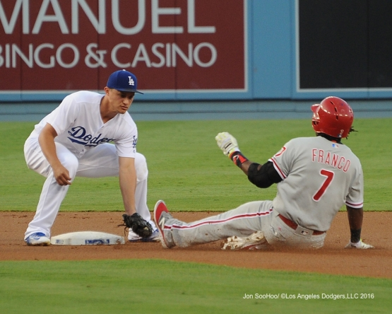 Corey Seager with the tag at second during game against the Philadelphia Phillies Monday, August 8, 2016 at Dodger Stadium in Los Angeles,California. Photo by Jon SooHoo/©Los Angeles Dodgers,LLC 2016