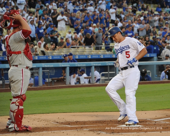 Corey Seager home run during game against the Philadelphia Phillies Monday, August 8, 2016 at Dodger Stadium in Los Angeles,California. Photo by Jon SooHoo/©Los Angeles Dodgers,LLC 2016