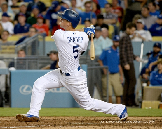 Corey Seager hits his second home run during game against the Philadelphia Phillies Monday, August 8, 2016 at Dodger Stadium in Los Angeles,California. Photo by Jon SooHoo/©Los Angeles Dodgers,LLC 2016