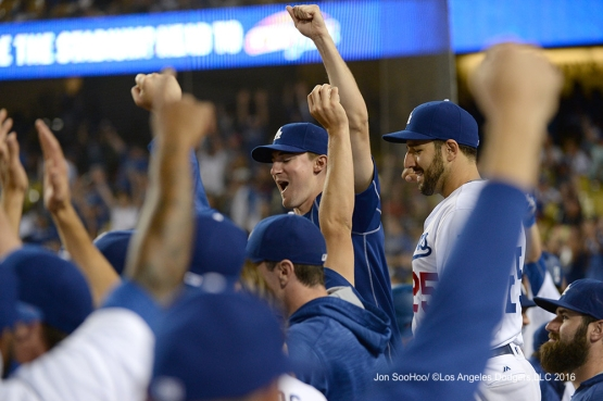 Dodger teammates cheer Corey Seager's second home run during game against the Philadelphia Phillies Monday, August 8, 2016 at Dodger Stadium in Los Angeles,California. Photo by Jon SooHoo/©Los Angeles Dodgers,LLC 2016