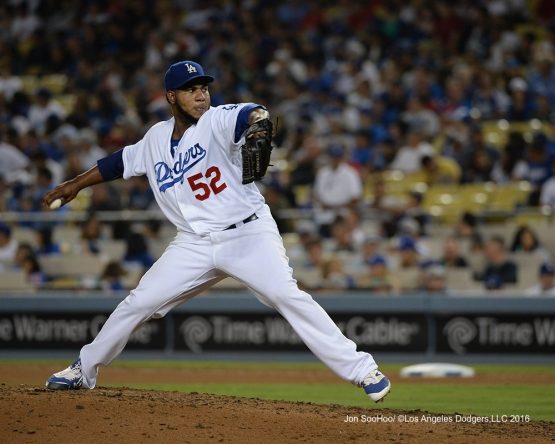 Pedro Baez during game against the Philadelphia Phillies Monday, August 8, 2016 at Dodger Stadium in Los Angeles,California. Photo by Jon SooHoo/©Los Angeles Dodgers,LLC 2016