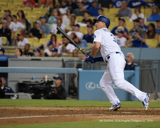 Joc Pederson during game against the Philadelphia Phillies Monday, August 8, 2016 at Dodger Stadium in Los Angeles,California. Photo by Jon SooHoo/©Los Angeles Dodgers,LLC 2016