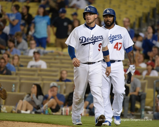 Yasmani Grandal and Howie Kendrick during game against the Philadelphia Phillies Monday, August 8, 2016 at Dodger Stadium in Los Angeles,California. Photo by Jon SooHoo/©Los Angeles Dodgers,LLC 2016