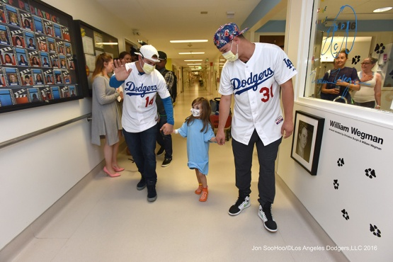 Kike Hernandez and Joc Pederson visit Cedars-Sinai Hospital Tuesday, August 8, 2016 at Dodger Stadium in Los Angeles,California. Photo by Jon SooHoo/©Los Angeles Dodgers,LLC 2016
