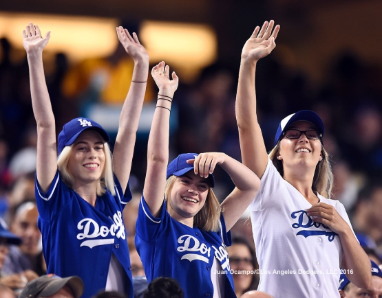 Dodger fans show their support.
