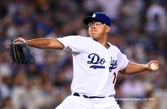 Julio Urias pitches against the Phillies.