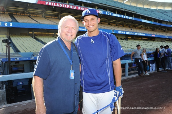 Bill Russell and Corey Seager prior to game against the Philadelphia Phillies Tuesday, August 8, 2016 at Dodger Stadium in Los Angeles,California. Photo by Jon SooHoo/©Los Angeles Dodgers,LLC 2016