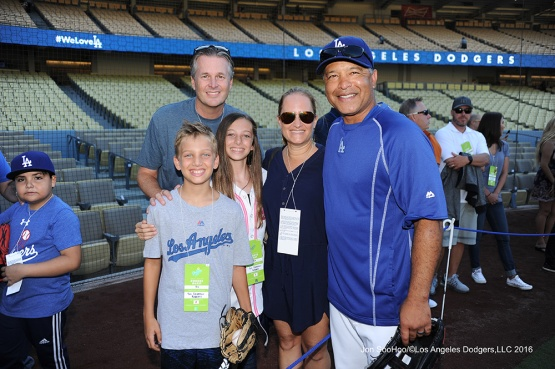 Dave Roberts and guests prior to game against the Philadelphia Phillies Tuesday, August 8, 2016 at Dodger Stadium in Los Angeles,California. Photo by Jon SooHoo/©Los Angeles Dodgers,LLC 2016