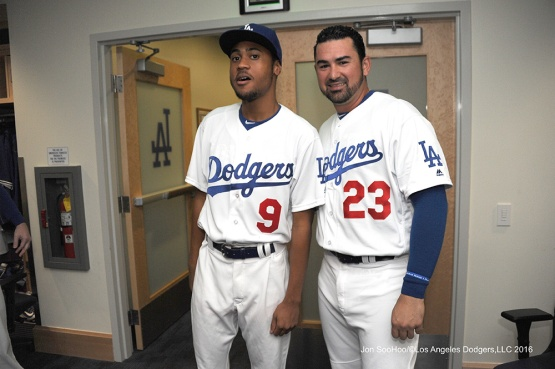 R.J.Peete and Adrian Gonzalez prior to game against the Philadelphia Phillies Tuesday, August 8, 2016 at Dodger Stadium in Los Angeles,California. Photo by Jon SooHoo/©Los Angeles Dodgers,LLC 2016
