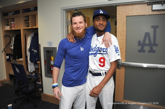 R.J.Peete and J.P Howell prior to game against the Philadelphia Phillies Tuesday, August 8, 2016 at Dodger Stadium in Los Angeles,California. Photo by Jon SooHoo/©Los Angeles Dodgers,LLC 2016