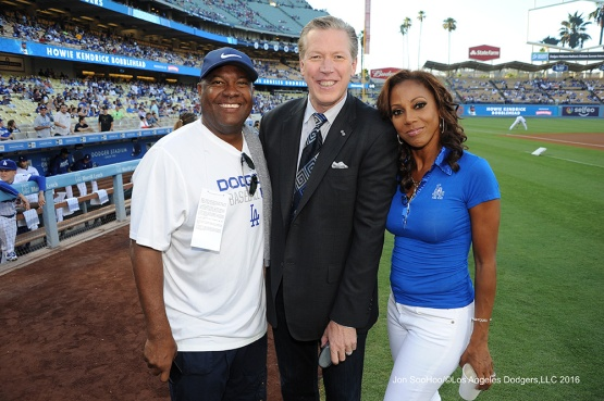 Rodney Peete, Orel Hershiser and Holly Robinson-Peete prior to game against the Philadelphia Phillies Tuesday, August 8, 2016 at Dodger Stadium in Los Angeles,California. Photo by Jon SooHoo/©Los Angeles Dodgers,LLC 2016