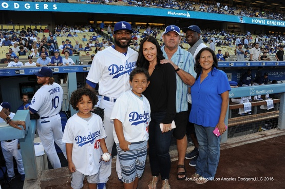 The Kendrick family poses prior to game against the Philadelphia Phillies Tuesday, August 8, 2016 at Dodger Stadium in Los Angeles,California. Photo by Jon SooHoo/©Los Angeles Dodgers,LLC 2016