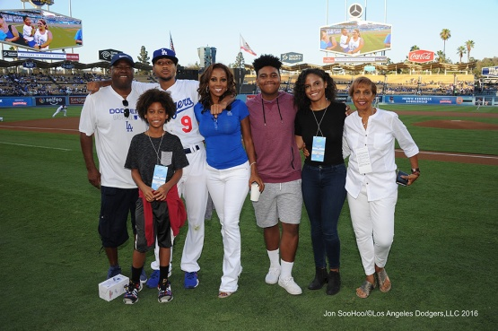 The Peete family prior to game against the Philadelphia Phillies Tuesday, August 8, 2016 at Dodger Stadium in Los Angeles,California. Photo by Jon SooHoo/©Los Angeles Dodgers,LLC 2016