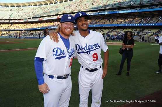 R.J.Peete and Justin Turner prior to game against the Philadelphia Phillies Tuesday, August 8, 2016 at Dodger Stadium in Los Angeles,California. Photo by Jon SooHoo/©Los Angeles Dodgers,LLC 2016
