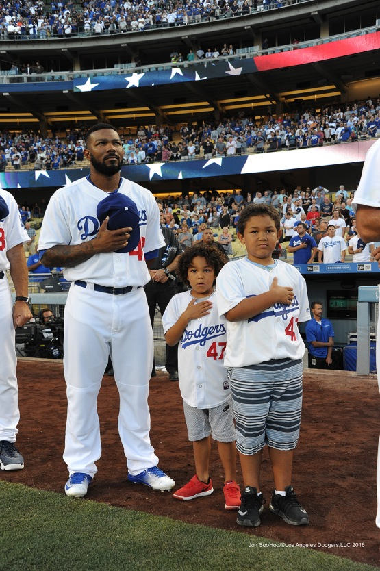 The Kendricks stand for the anthem prior to game against the Philadelphia Phillies Tuesday, August 8, 2016 at Dodger Stadium in Los Angeles,California. Photo by Jon SooHoo/©Los Angeles Dodgers,LLC 2016