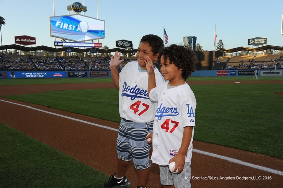 Owen and Tyson Kendrick prior to game against the Philadelphia Phillies Tuesday, August 8, 2016 at Dodger Stadium in Los Angeles,California. Photo by Jon SooHoo/©Los Angeles Dodgers,LLC 2016