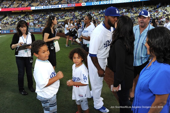 The Kendricks prior to game against the Philadelphia Phillies Tuesday, August 8, 2016 at Dodger Stadium in Los Angeles,California. Photo by Jon SooHoo/©Los Angeles Dodgers,LLC 2016