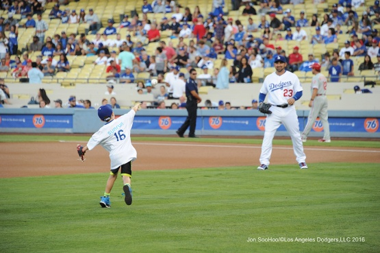 Adrian Gonzalez plays catch during game against the Philadelphia Phillies Tuesday, August 8, 2016 at Dodger Stadium in Los Angeles,California. Photo by Jon SooHoo/©Los Angeles Dodgers,LLC 2016