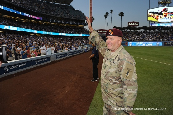 U.S.Army Staff Sergeant, Jay Byrd during game against the Philadelphia Phillies Tuesday, August 8, 2016 at Dodger Stadium in Los Angeles,California. Photo by Jon SooHoo/©Los Angeles Dodgers,LLC 2016