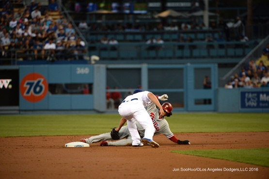 Corey Seager during game against the Philadelphia Phillies Tuesday, August 8, 2016 at Dodger Stadium in Los Angeles,California. Photo by Jon SooHoo/©Los Angeles Dodgers,LLC 2016