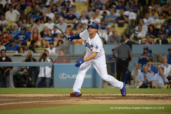 Joc Pederson singles during game against the Philadelphia Phillies Tuesday, August 8, 2016 at Dodger Stadium in Los Angeles,California. Photo by Jon SooHoo/©Los Angeles Dodgers,LLC 2016