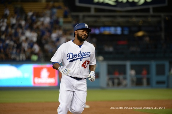 Howie Kendrick homers during game against the Philadelphia Phillies Tuesday, August 8, 2016 at Dodger Stadium in Los Angeles,California. Photo by Jon SooHoo/©Los Angeles Dodgers,LLC 2016