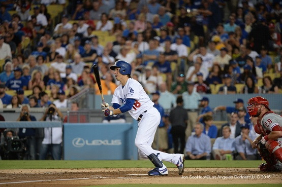 Kenta Maeda doubles during game against the Philadelphia Phillies Tuesday, August 8, 2016 at Dodger Stadium in Los Angeles,California. Photo by Jon SooHoo/©Los Angeles Dodgers,LLC 2016