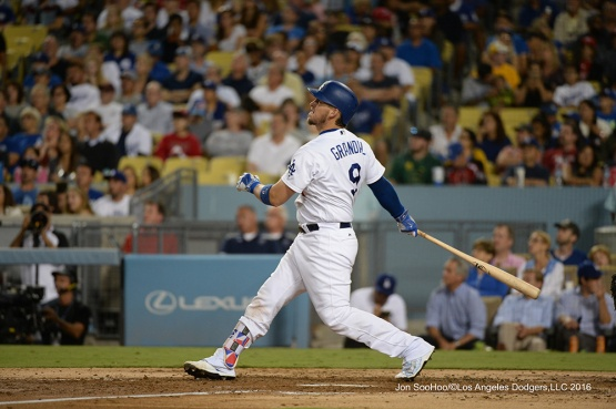 Yasmani Grandal homers during game against the Philadelphia Phillies Tuesday, August 8, 2016 at Dodger Stadium in Los Angeles,California. Photo by Jon SooHoo/©Los Angeles Dodgers,LLC 2016
