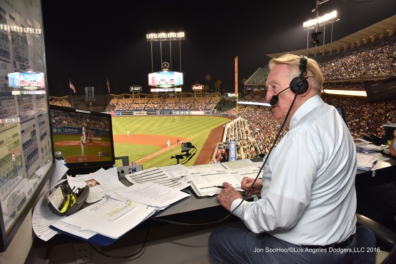 Vin Scully during game against the Philadelphia Phillies Tuesday, August 8, 2016 at Dodger Stadium in Los Angeles,California. Photo by Jon SooHoo/©Los Angeles Dodgers,LLC 2016