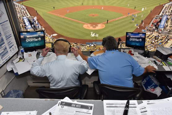 Vin Scully and Boyd Robertson during game against the Philadelphia Phillies Tuesday, August 8, 2016 at Dodger Stadium in Los Angeles,California. Photo by Jon SooHoo/©Los Angeles Dodgers,LLC 2016