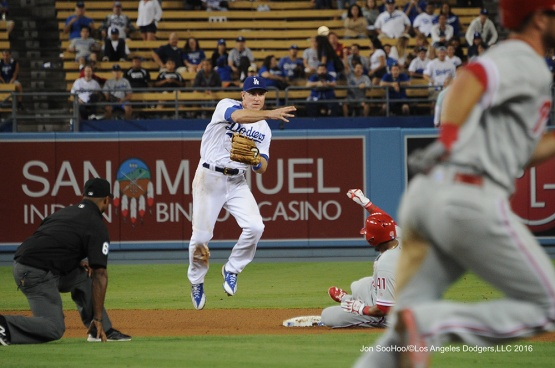 Chase Utley during game against the Philadelphia Phillies Tuesday, August 8, 2016 at Dodger Stadium in Los Angeles,California. Photo by Jon SooHoo/©Los Angeles Dodgers,LLC 2016