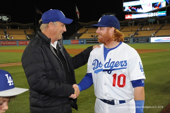 Kevin Costner and Justin Turner during game against the Philadelphia Phillies Tuesday, August 8, 2016 at Dodger Stadium in Los Angeles,California. Photo by Jon SooHoo/©Los Angeles Dodgers,LLC 2016