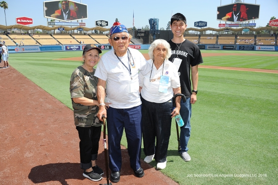 "Los Angeles Dodgers Military Hero of the Game US Army Corporal, Noboru ""Don"" Seki poses prior to game against the Philadelphia Phillies Wednesday, August 10, 2016 at Dodger Stadium in Los Angeles,California. Photo by Jon SooHoo/©Los Angeles Dodgers,LLC 2016"