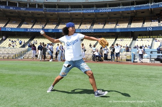 Los Angeles Sparks Kari Tolliver warms up prior to game against the Philadelphia Phillies Wednesday, August 10, 2016 at Dodger Stadium in Los Angeles,California. Photo by Jon SooHoo/©Los Angeles Dodgers,LLC 2016