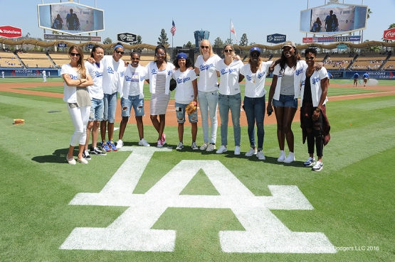 Los Angeles Sparks members pose prior to game against the Philadelphia Phillies Wednesday, August 10, 2016 at Dodger Stadium in Los Angeles,California. Photo by Jon SooHoo/©Los Angeles Dodgers,LLC 2016