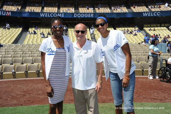 Stan Kasten poses with Sparks prior to game against the Philadelphia Phillies Wednesday, August 10, 2016 at Dodger Stadium in Los Angeles,California. Photo by Jon SooHoo/©Los Angeles Dodgers,LLC 2016