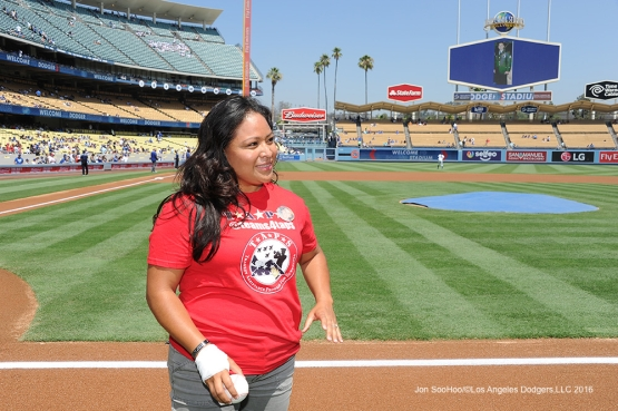 Salina Jimenez is introduced prior to throwing out the first pitch Wednesday, August 10, 2016 at Dodger Stadium in Los Angeles,California. Photo by Jon SooHoo/©Los Angeles Dodgers,LLC 2016