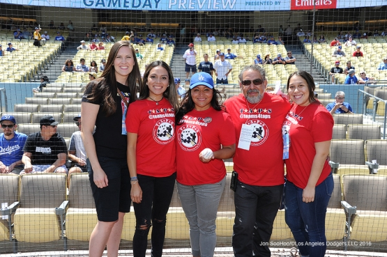 Tragedy Assistance Program for Survivors pose before game against the Philadelphia Phillies Wednesday, August 10, 2016 at Dodger Stadium in Los Angeles,California. Photo by Jon SooHoo/©Los Angeles Dodgers,LLC 2016
