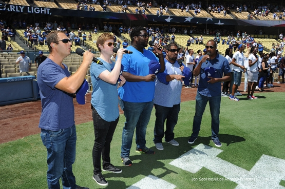 Alright performs the national anthem prior to game against the Philadelphia Phillies Wednesday, August 10, 2016 at Dodger Stadium in Los Angeles,California. Photo by Jon SooHoo/©Los Angeles Dodgers,LLC 2016