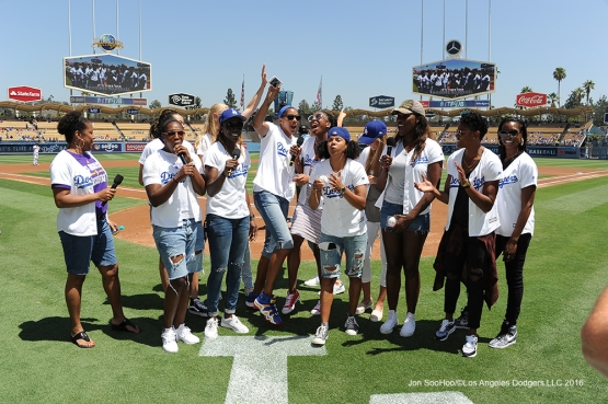 ITFDB with the LA Sparks prior to game against the Philadelphia Phillies Wednesday, August 10, 2016 at Dodger Stadium in Los Angeles,California. Photo by Jon SooHoo/©Los Angeles Dodgers,LLC 2016
